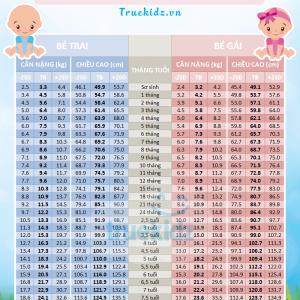 Chiều cao Cân nặng của trẻ em Việt Nam chuẩn nhất