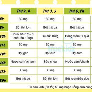 Thực đơn cho trẻ 9-12 tháng tuổi biếng ăn tăng cân vù vù